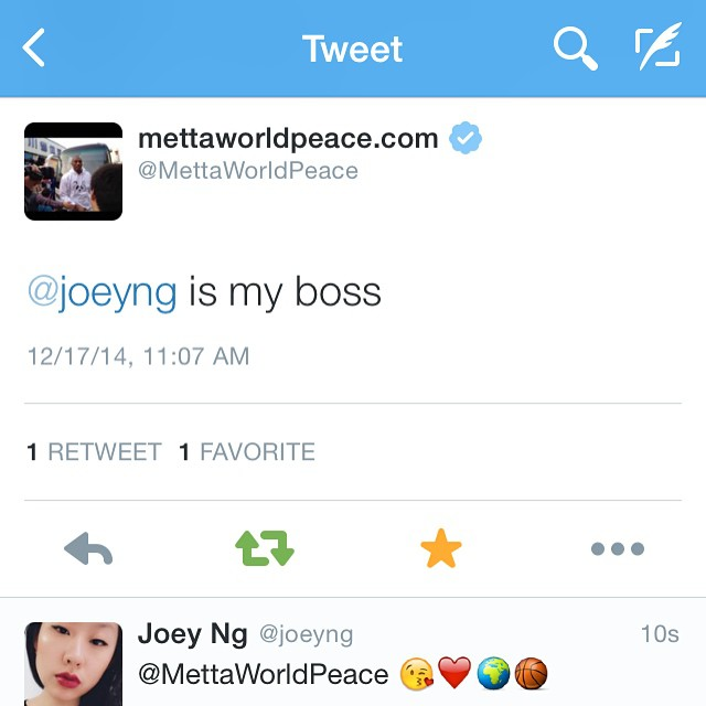 Metta World Peace Joey Ng Is My Boss