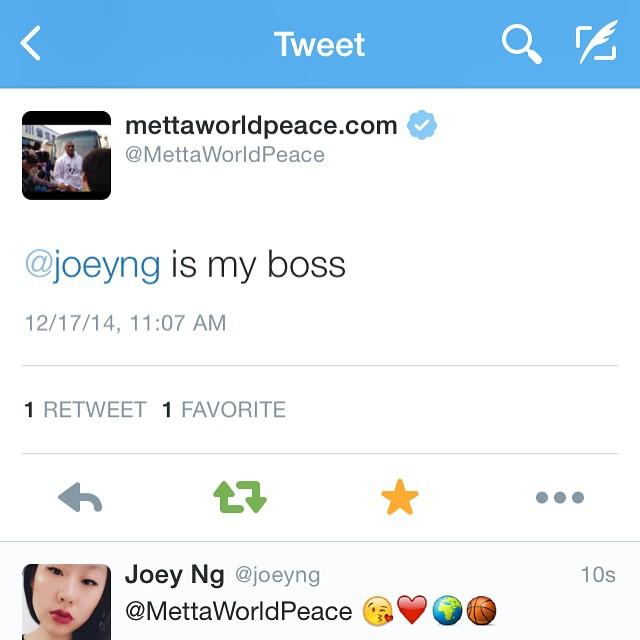 Metta World Peace Joey Ng Is My Boss