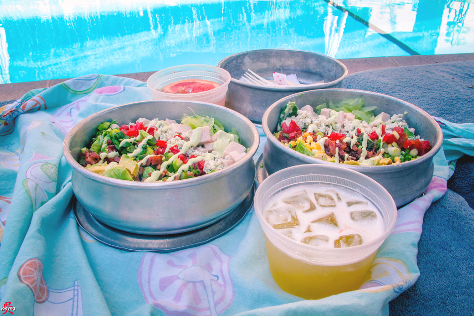 Cobb Salad Cocktails Commissary The Line Hotel Pool Los Angeles California